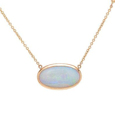 14K WHITE OPAL NECKLACE