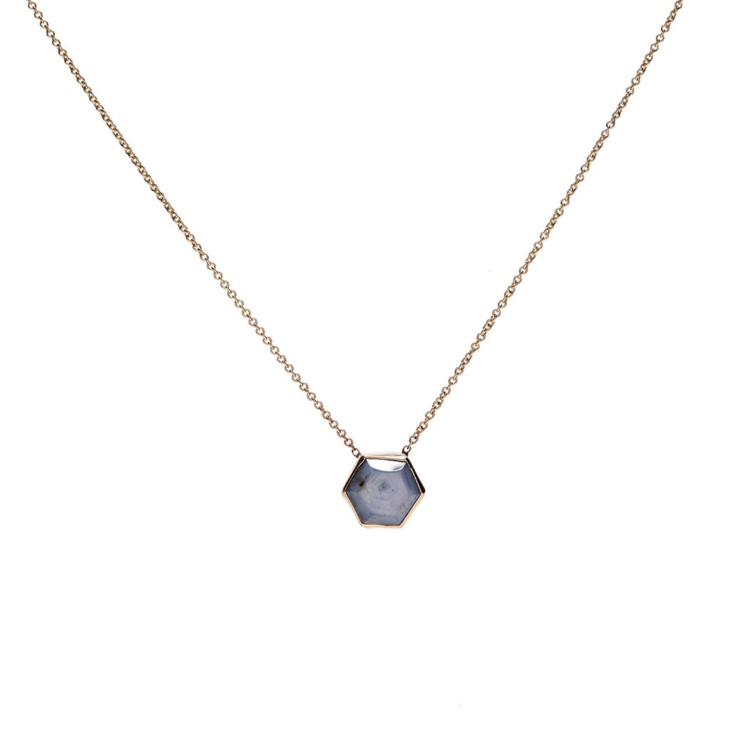 14K HEXAGON STAR SAPPHIRE NECKLACE