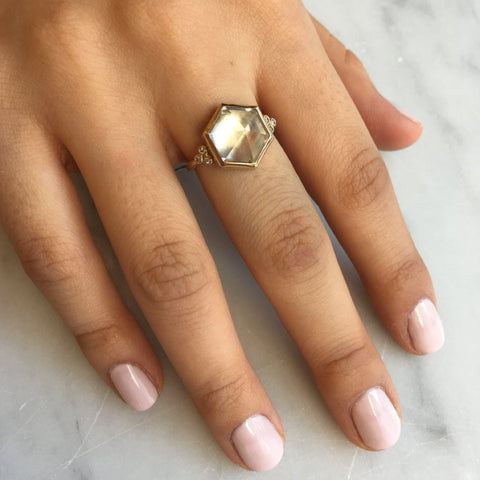 14K QUARTZ HEXAGON RING