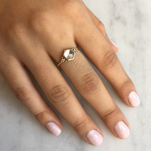 CLEAR QUARTZ HEX WITH DIAMONDS RING