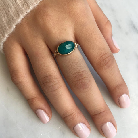 CHECKERBOARD EMERALD RING