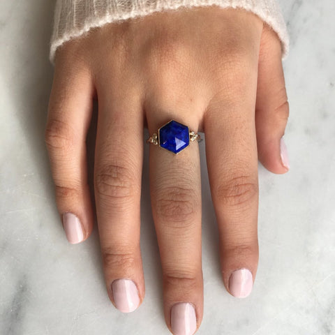 HEXAGON LAPIS RING