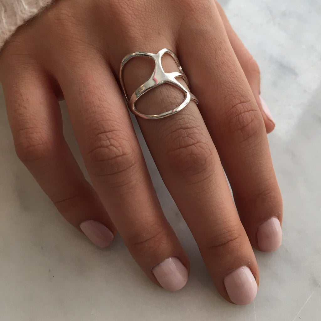 14K OR SS AMOEBA RING