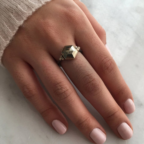 HEXAGON PYRITE RING