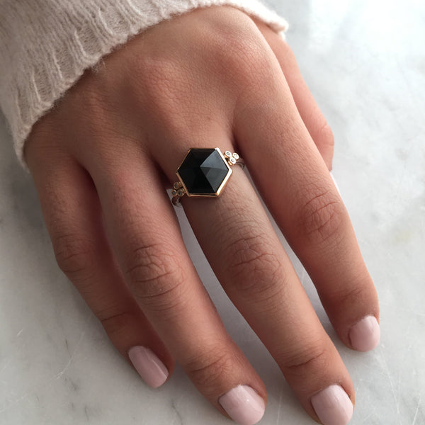 14K SS HEXAGON ONYX RING - Emily Amey Handmade one of a kind jewelry Hudson Valley New York.