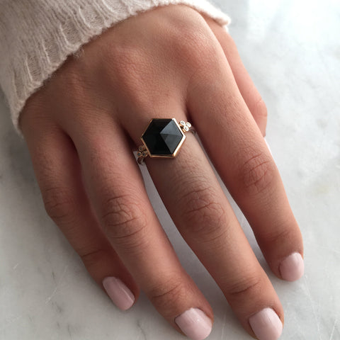 HEXAGON ONYX RING
