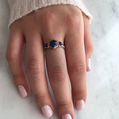 LAPIS HEXAGON WITH TRILLIONS RING