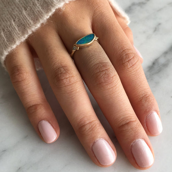 14K OPAL AND DIAMOND RING - Emily Amey Handmade one of a kind jewelry Hudson Valley New York.