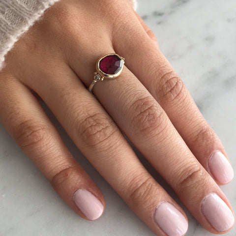 RHODOLITE AND DIAMONDS RING