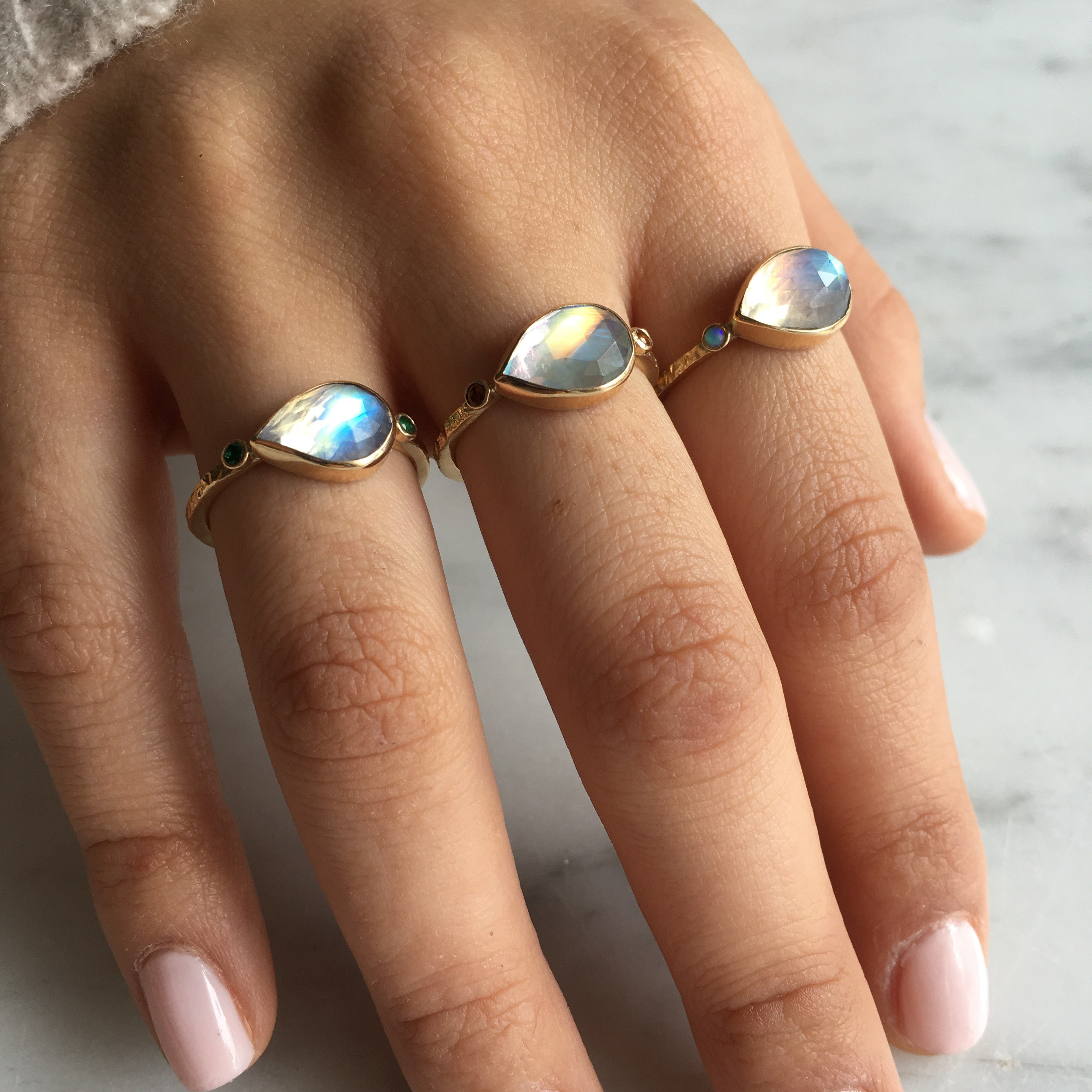 MOONSTONE DIAMOND RING - Emily Amey Handmade one of a kind jewelry Hudson Valley New York.