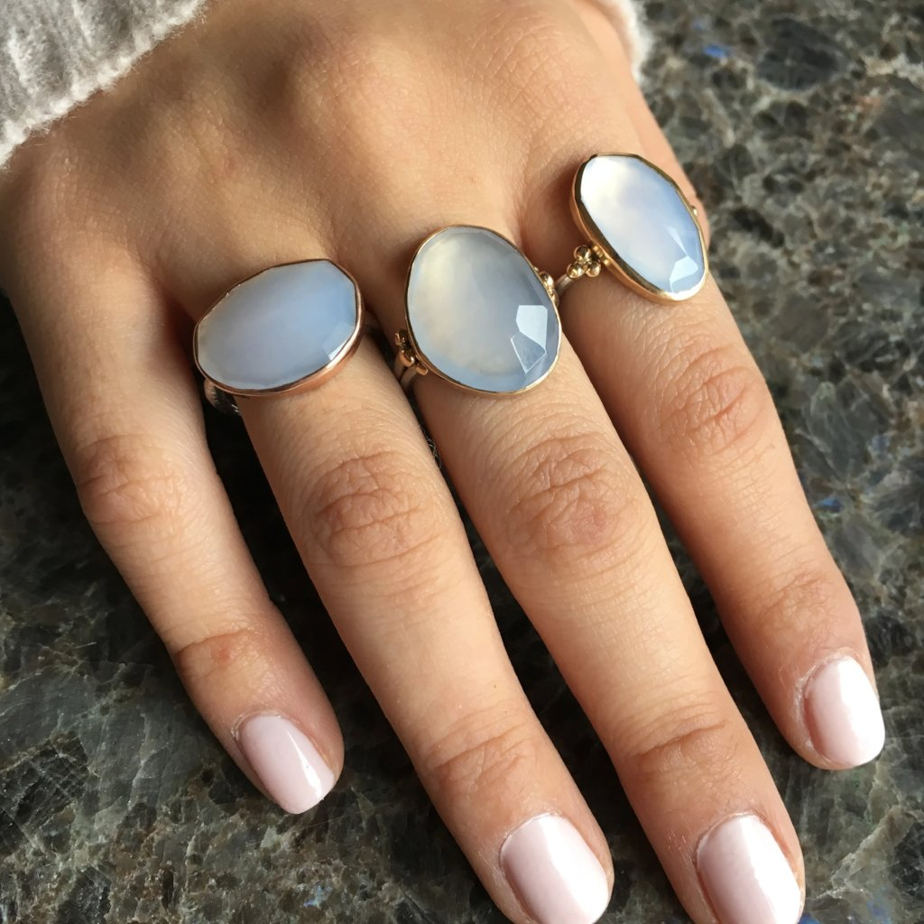 ROSECUT CHALCEDONY RING