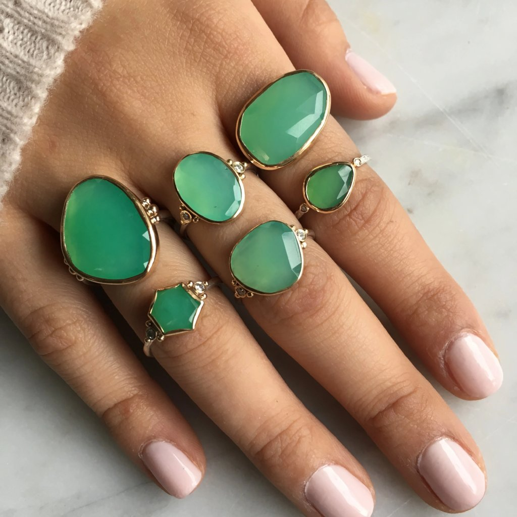 CHRYSOPRASE WITH DIAMONDS RING - Emily Amey Handmade one of a kind jewelry Hudson Valley New York.