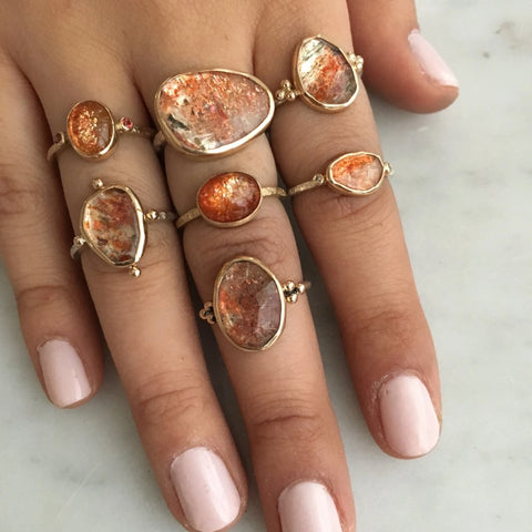ROSECUT SUNSTONE RING