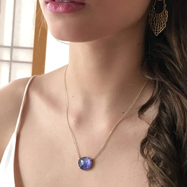 14k ROSECUT TANZANITE NECKLACE - Emily Amey Handmade one of a kind jewelry Hudson Valley New York.