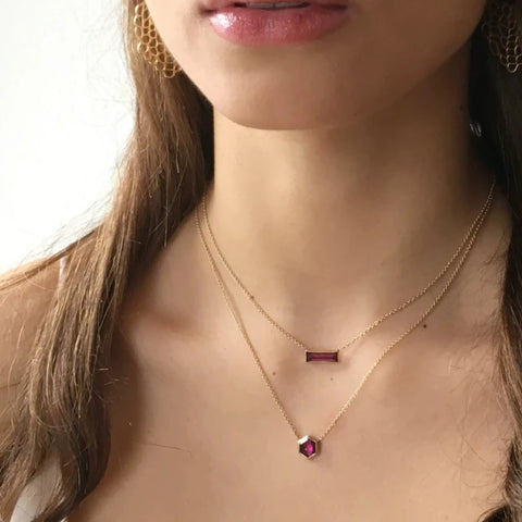 RHODOLITE HEXAGON NECKLACE