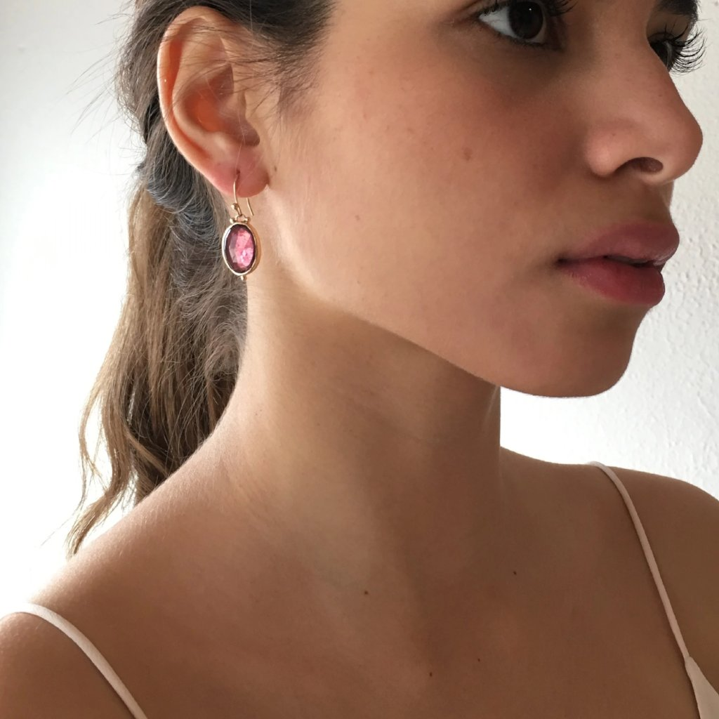 14k ROSECUT RUBY DROP EARRINGS.