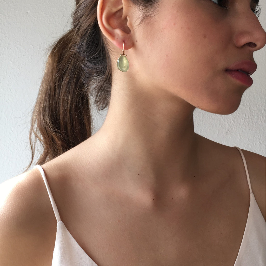 ROSECUT PREHNITE EARRINGS