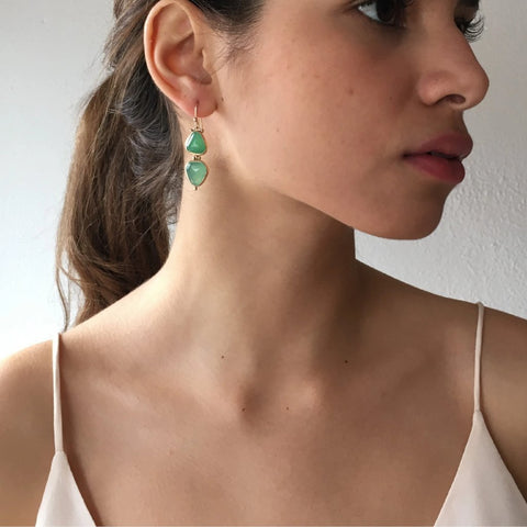 14k DOUBLE CHRYSOPRASE DROP EARRINGS
