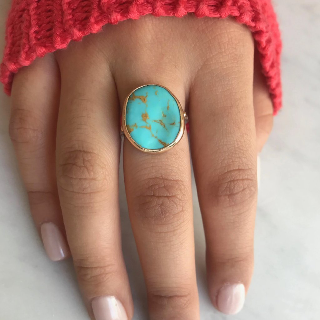 14K SS TURQUOISE RING