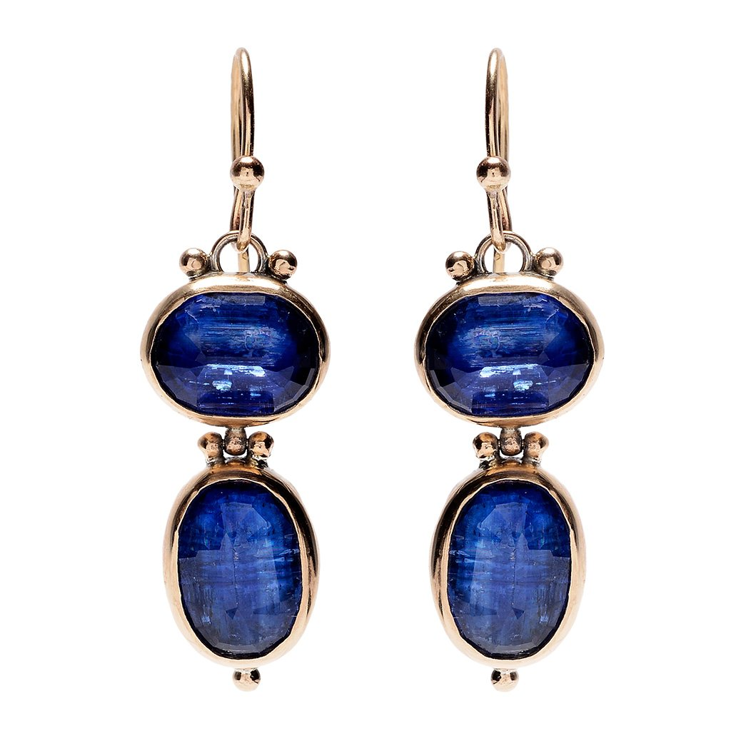 14K ROSECUT KYANITE DOUBLE DROP EARRINGS