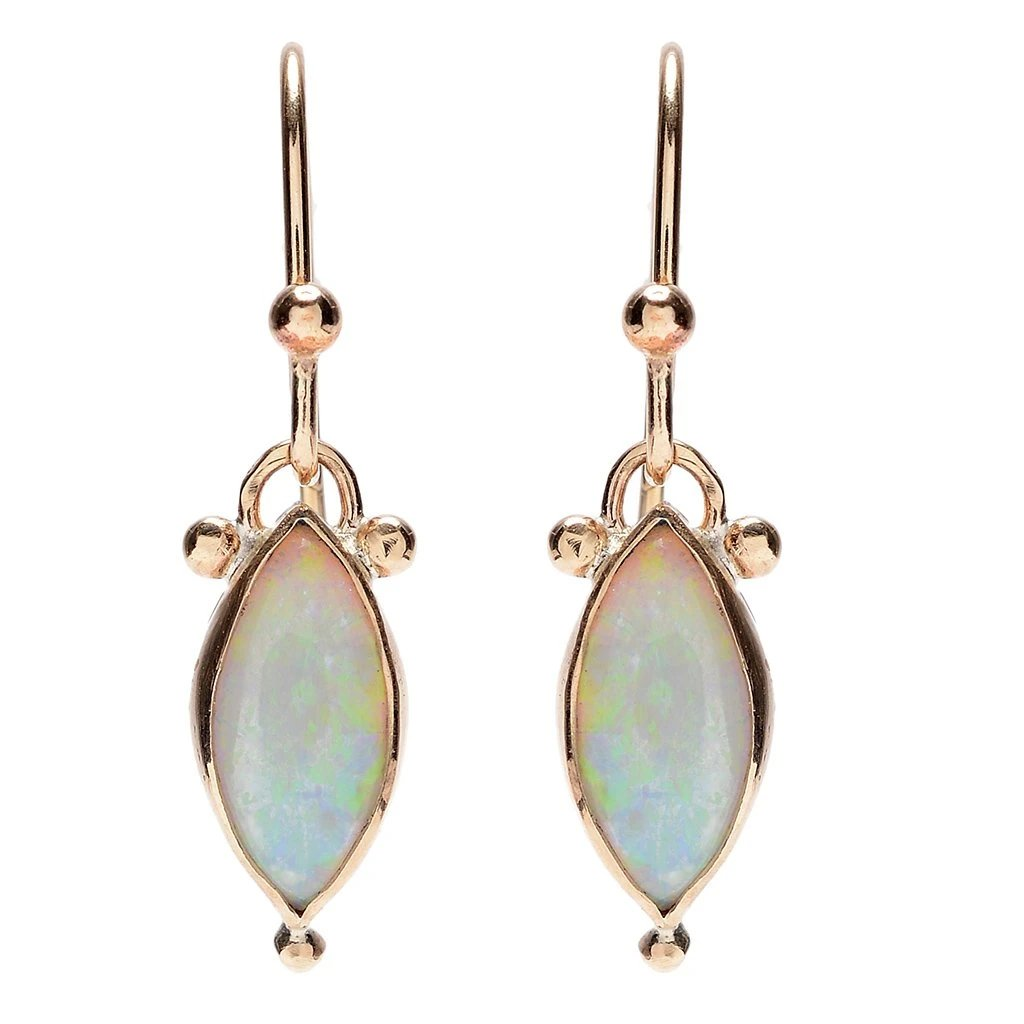 14K MARQUIS WHITE OPAL EARRINGS