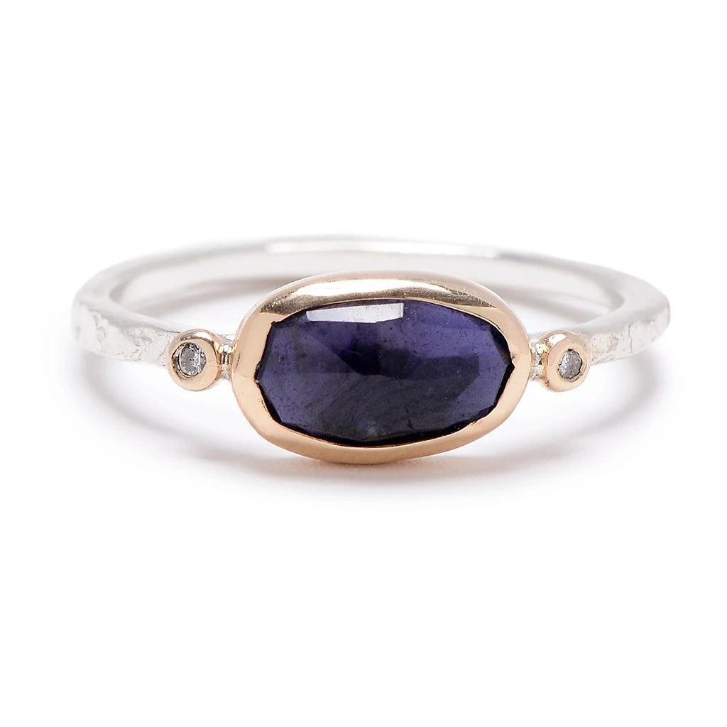 IOLITE WITH DIAMONDS RING