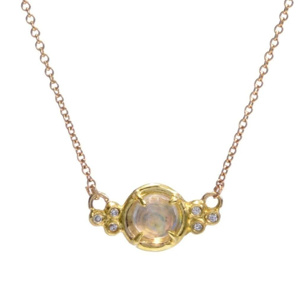 14K MOONSTONE PUDDLE PRONG NECKLACE