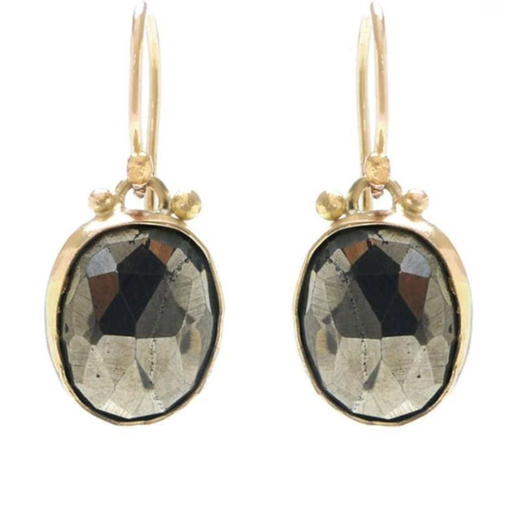 ROSECUT PYRITE EARRINGS