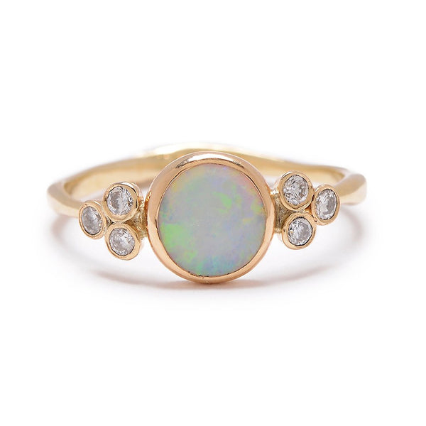 14k WHITE OPAL AND DIAMONDS RING - Emily Amey Handmade one of a kind jewelry Hudson Valley New York.