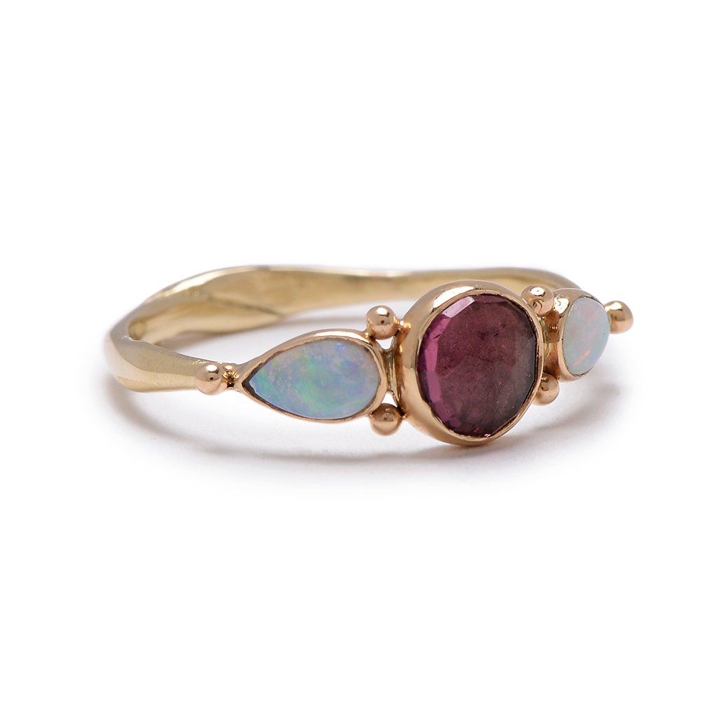 14K ROSECUT PINK TOURMALINE WITH SIDE OPALS RING