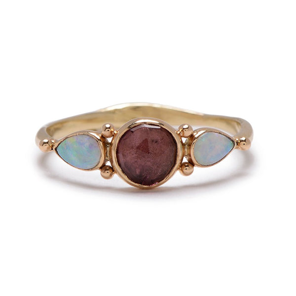 14K ROSECUT PINK TOURMALINE WITH SIDE OPALS RING - Emily Amey Handmade one of a kind jewelry Hudson Valley New York.