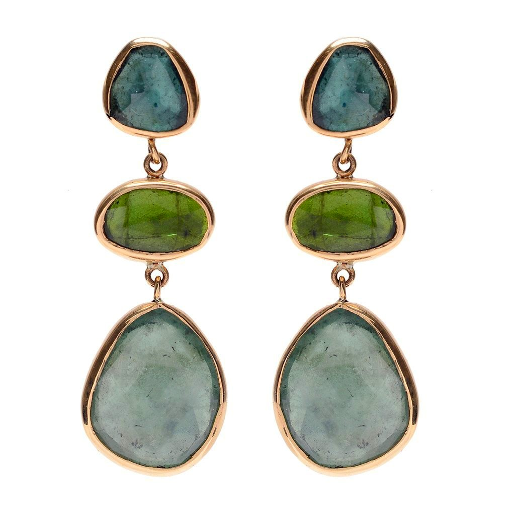 14k TRIPLE TOURMALINE DROP EARRINGS