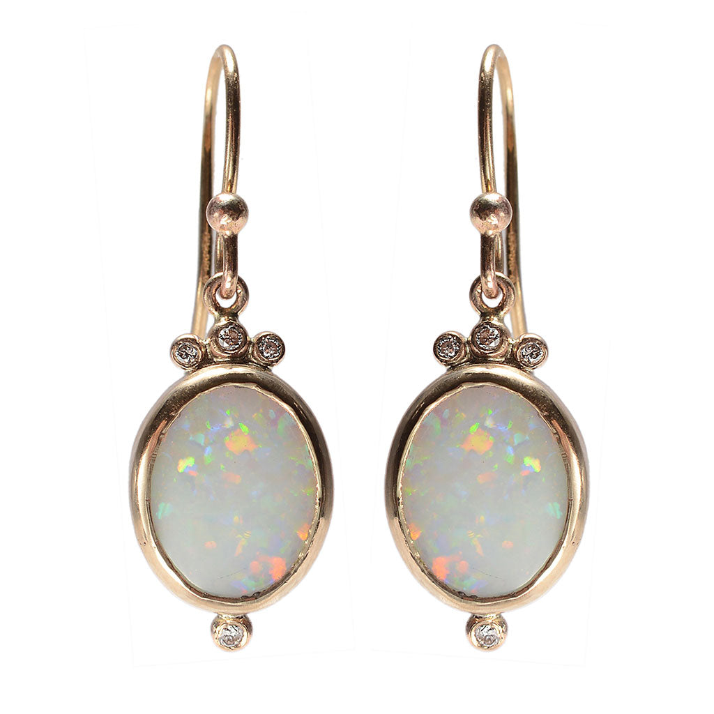 WHITE OPAL AND DIAMOND EARRINGS