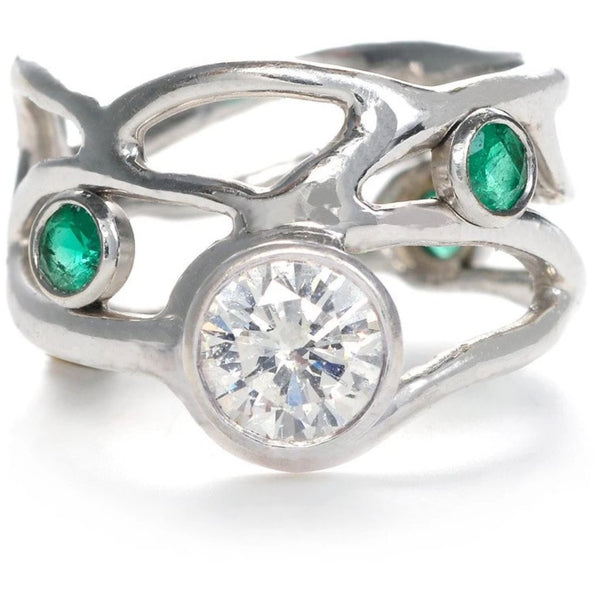 14K  CHELLE RING W DIAMOND AND EMERALDS - Emily Amey Handmade one of a kind jewelry Hudson Valley New York.