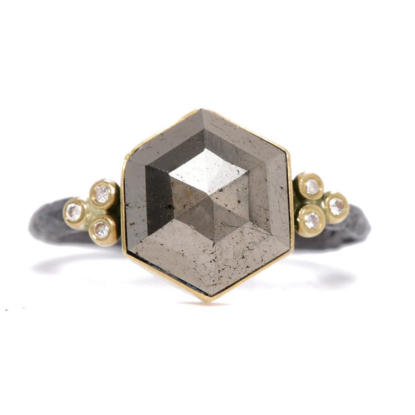 14K SS HEXAGON PYRITE RING - Emily Amey Handmade one of a kind jewelry Hudson Valley New York.
