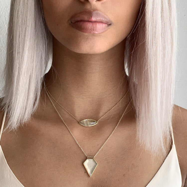 14K SS RUTILE QUARTZ SHIELD NECKLACE