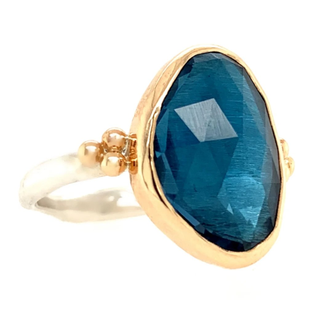 14K AND SS LARGE ROSECUT LONDON BLUE