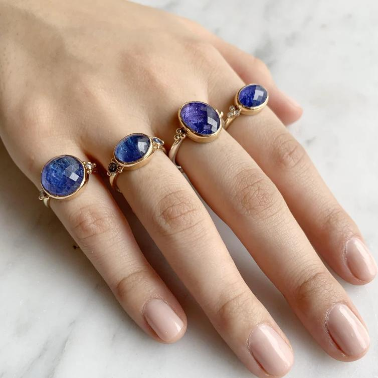 14K LARGE ROUND TANZANITE WITH DIAMONDS