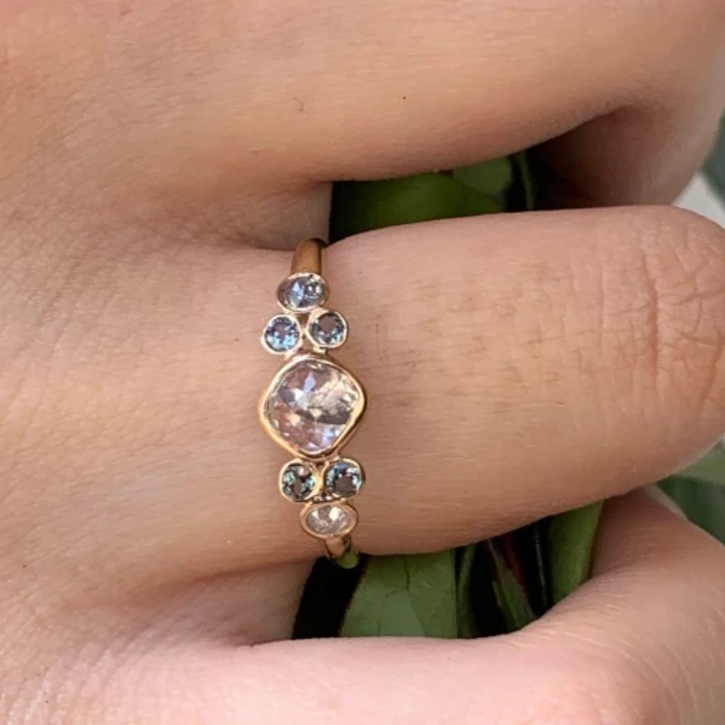 14K NATURAL DIAMOND AND ALEXANDRITE
