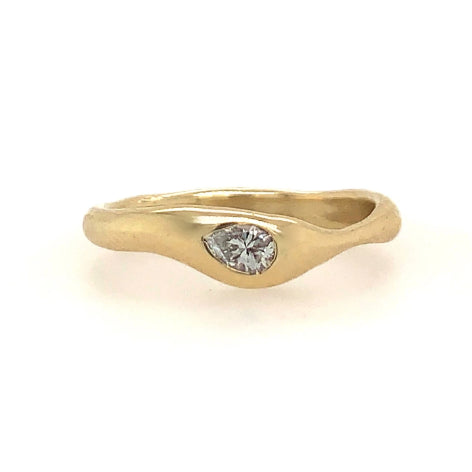 14K SEAGRASS BAND WITH PEAR DIAMOND