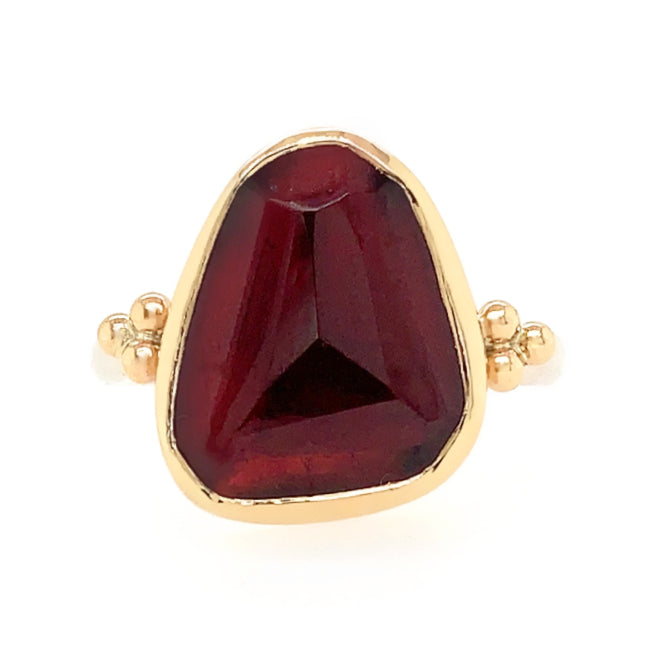 14K AND SS LARGE  ROSECUT RHODOLITE RING