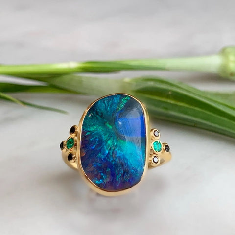 14K AUSTRALIAN OPAL WITH EMERALDS AND BLACK DIAMONDS