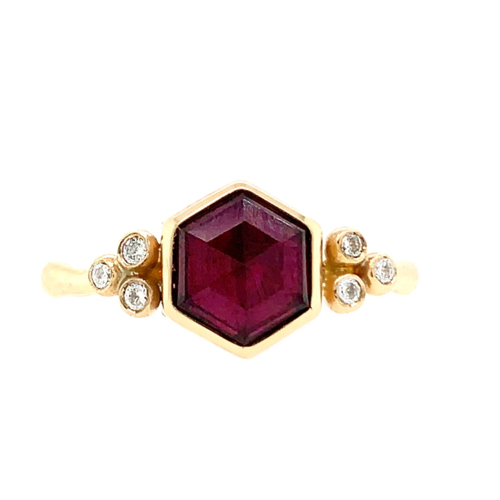 14K RHODOLITE HEXAGON WITH DIAMONDS