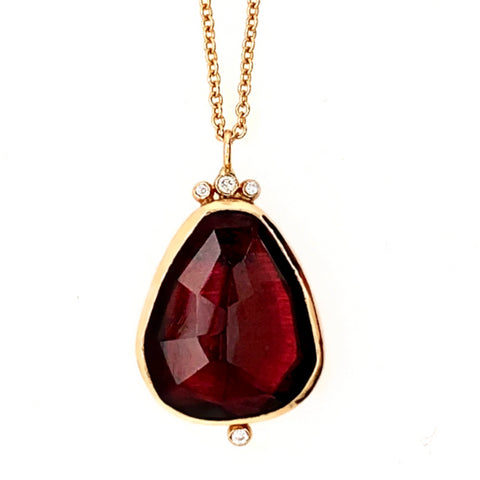 14K RHODOLITE WITH DIAMONDS
