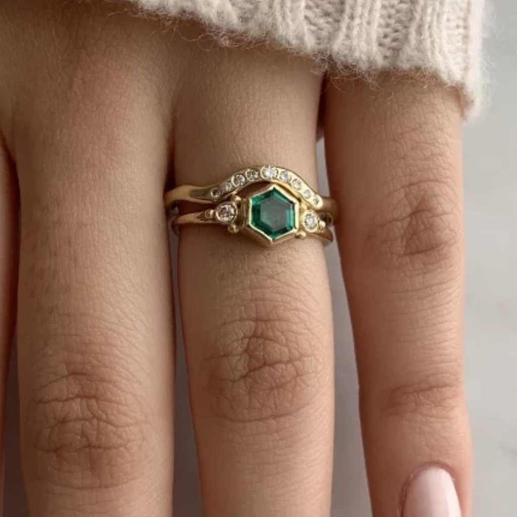 EMERALD HEX AND DIAMOND RING