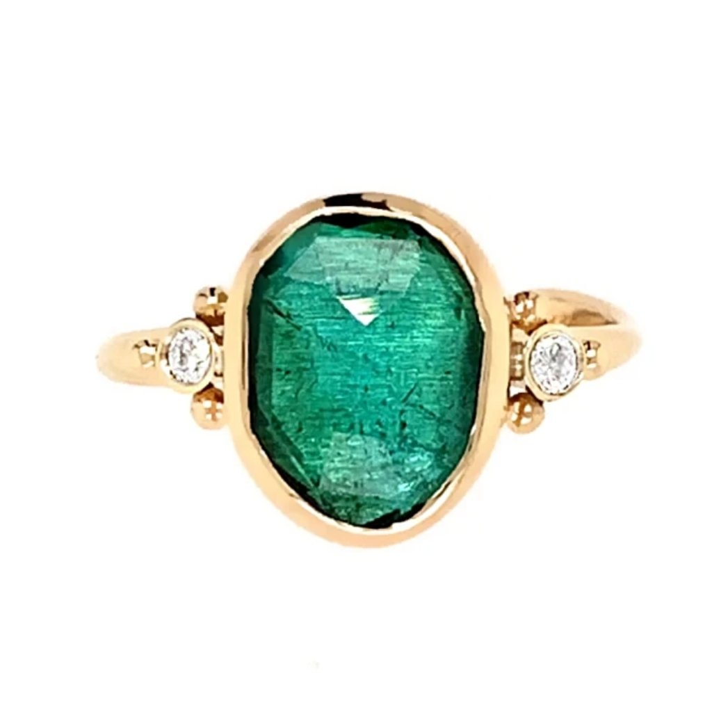 14K ROSECUT TEAL TOURMALINE WITH DIAMONDS