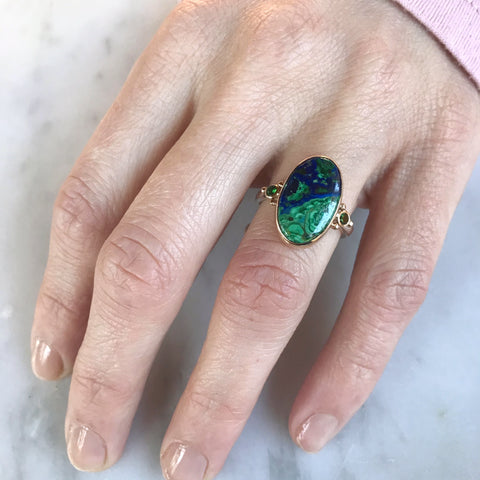 14K AND SS AZURITE MALACHITE WITH TSAVORITE GARNETS