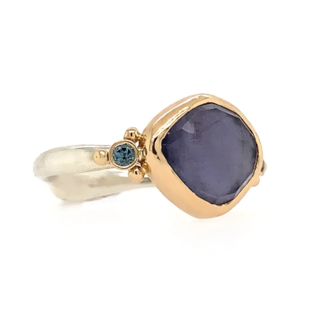 14K AND SS ROSECUT IOLITE WITH ALEXANDRITE