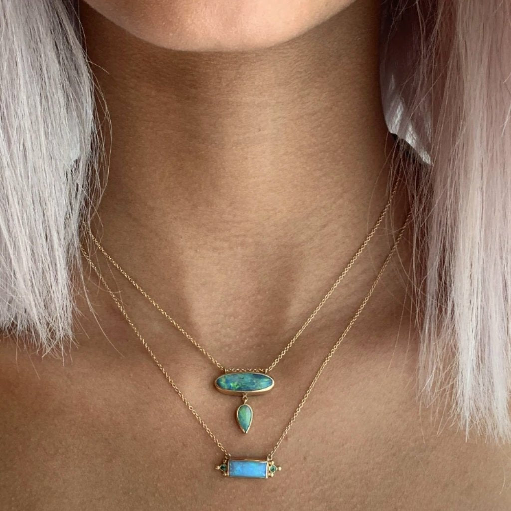14K DOUBLE OPAL NECKLACE
