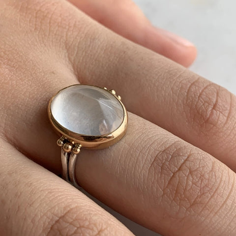 CLEAR QUARTZ SUGAR LOAF RING